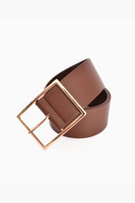 Wide Buckle Vegan Leather Belt (Tanx)
