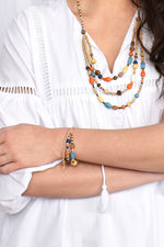 Two Strand Bead Mix Adjustable Bracelet (Natural/Multi)