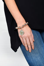 Coin Charm Large Metal Ball Bracelet (Rose)