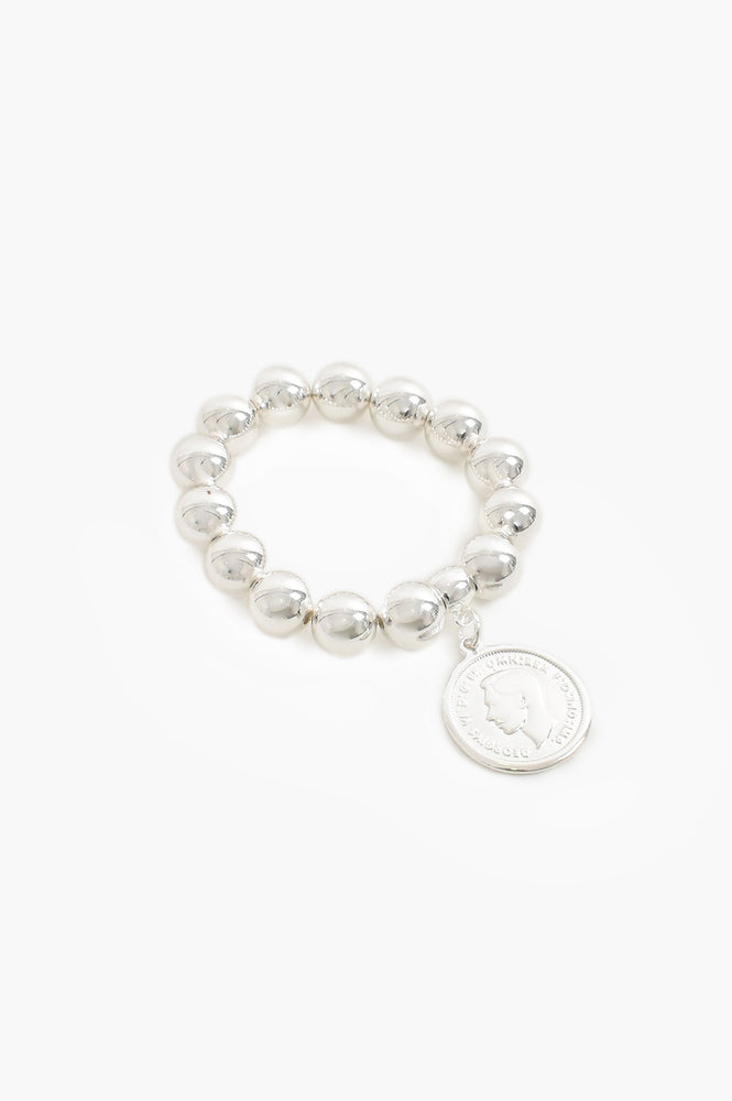 Coin Charm Large Metal Ball Bracelet (Silver)