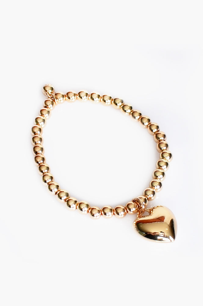 Heart Ball Bead Bracelet (Gold)