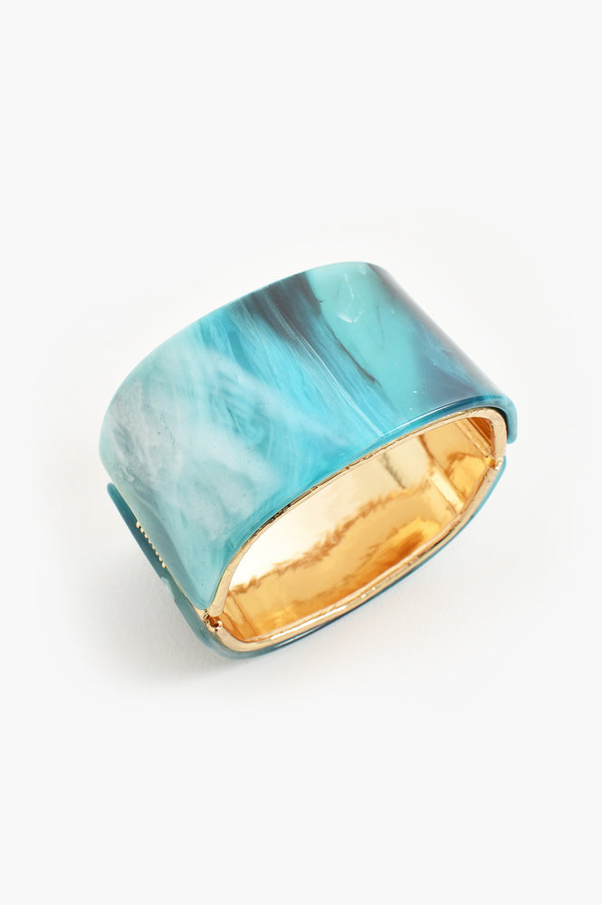 Metal Edge Resin Hinged Cuff (Teal)
