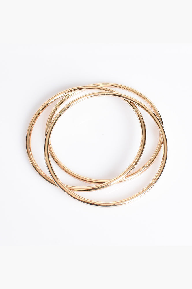 Trio Metal Bangle Set (Gold)
