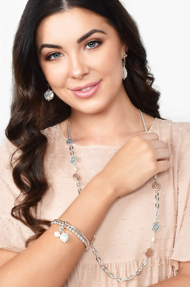 Ball Pearl Duo Stretch Bracelet (Silver/Cream)