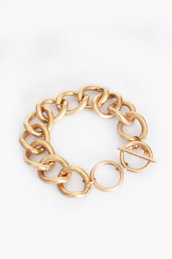 Curved Chain Link Bracelet (Gold)