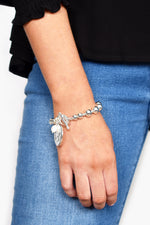 Ball Toggle Coin Pearl Disc Bracelet (Silver/Cream)
