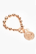 Ball Toggle Coin Pearl Disc Bracelet (Rose/Cream)