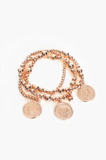 Multi Strand Ball Coin Bracelet (Rose)