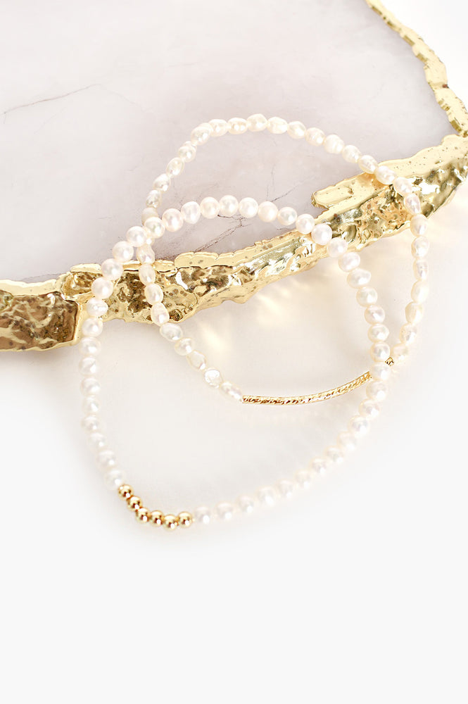 Two Strand Pearl Stretch Bracelet (Cream/Gold)