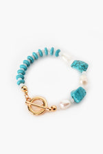 Tahiti Stone Mix Stretch Bracelet (Turquoise/Gold)