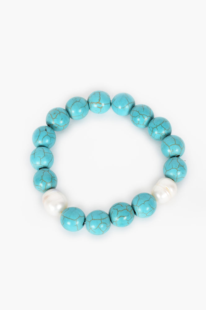 Stone Ball Stretch Bracelet (Turquoise/ Cream)