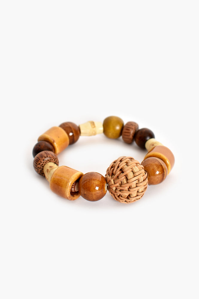 Weave Ball Stretch Bracelet (Tan)