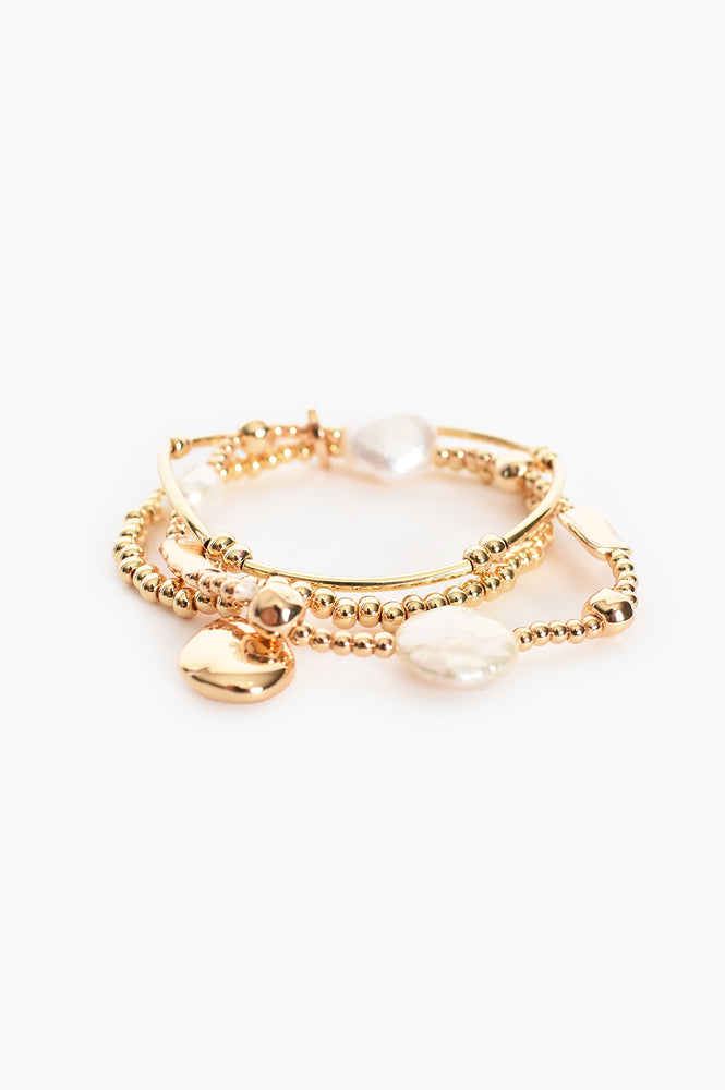 Freshwater & Cast Pearl Stretch Bracelet (Gold/Cream)