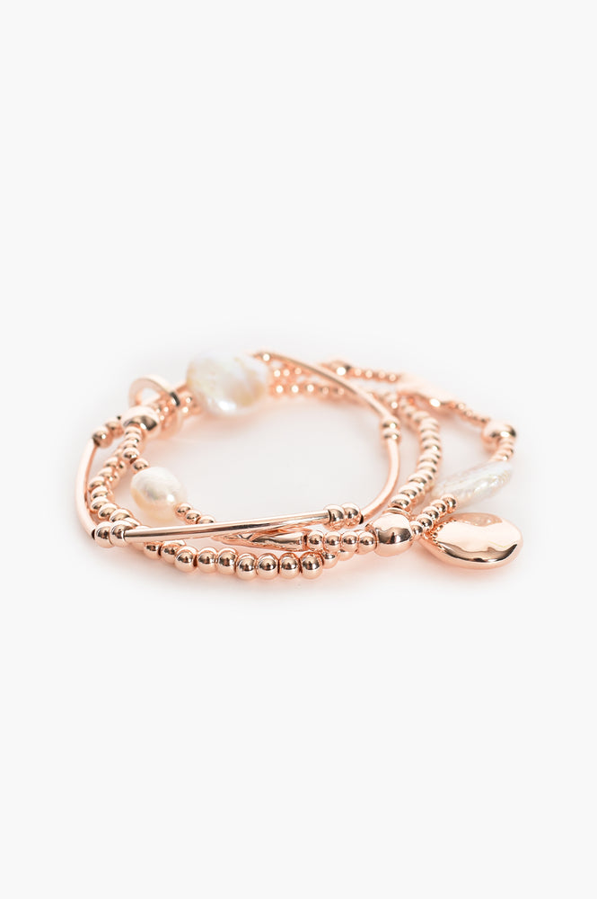 Freshwater & Cast Pearl Stretch Bracelet (Rose/Cream)