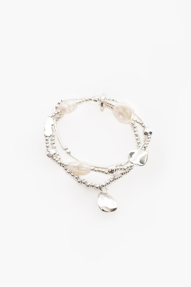 Freshwater & Cast Pearl Stretch Bracelet (Silver/Cream)
