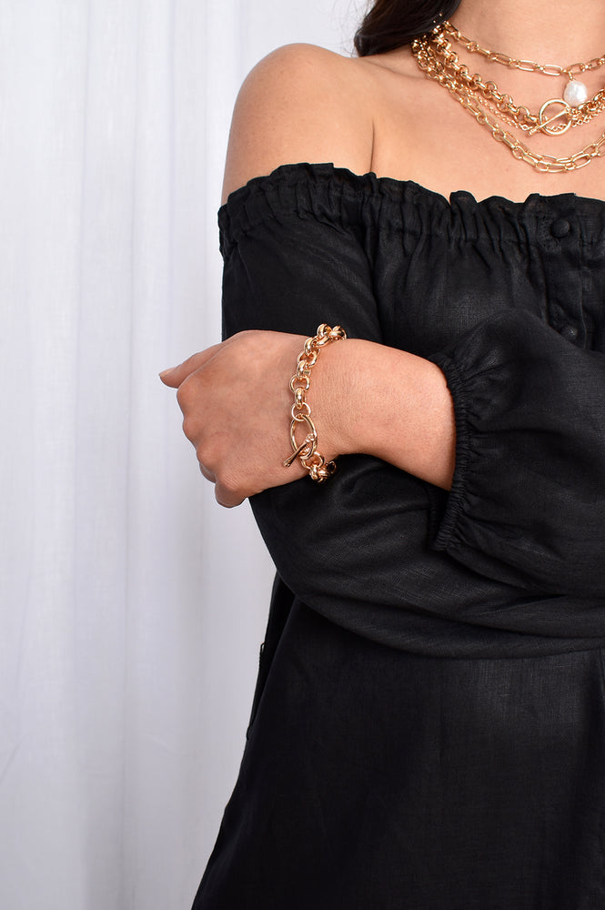 Toggle Detail Chain Bracelet (Rose)