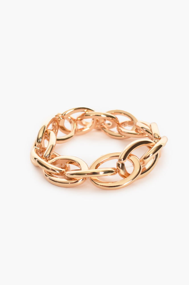 Chunky Metal Stretch Bracelet (Gold)