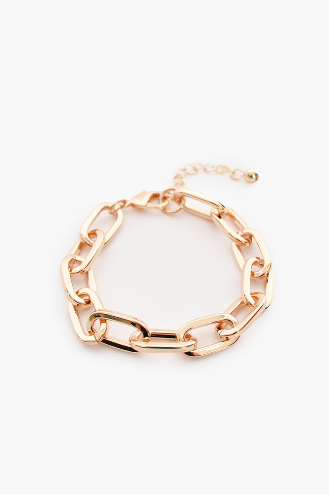 Rectangle Chain Simple Clasp Bracelet (Gold)