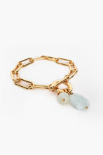Stone Drop Chain Toggle Bracelet (Mint/Gold)