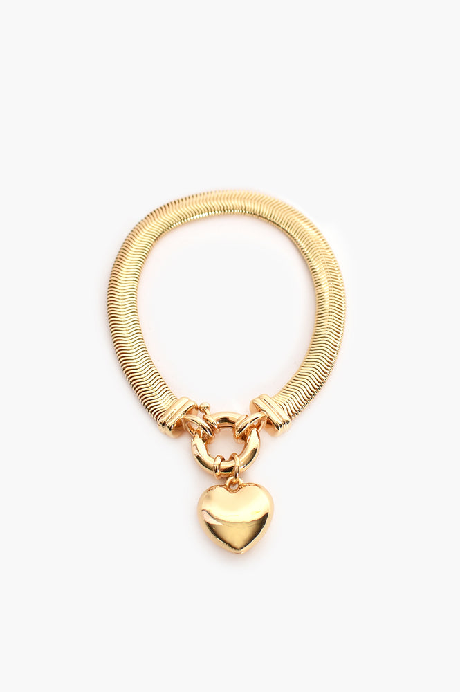 Heart Drop Snake Chain Bracelet (Gold)