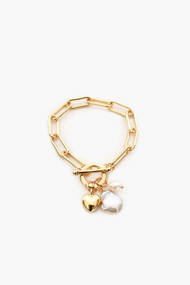 Edged Pearl & Heart Fob Bracelet (Cream/Gold)