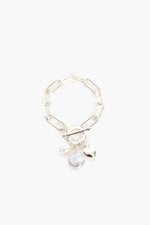 Edged Pearl & Heart Fob Bracelet (Cream/Silver)