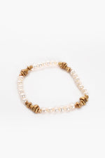 Pearl Panels Metal Cube Bracelet (Cream)