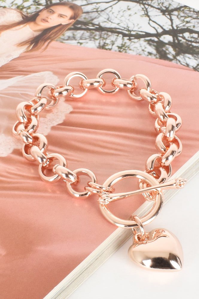 Heart Fob Round Link Chain Bracelet (Rose)