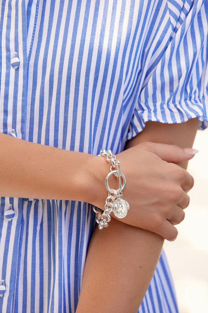 Coin & Pearl Round Link Chain Bracelet (Silver/Cream)
