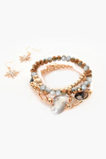 Multi Jewel Bead Bracelet Set (Monotone/Gold)