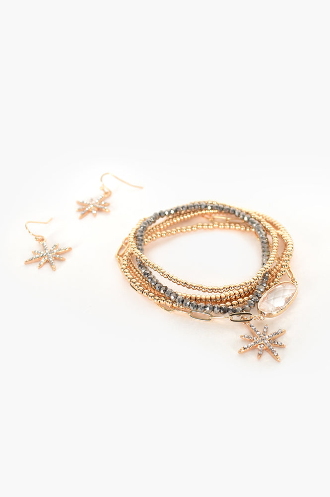 Diamante Star Charm Bracelet Set