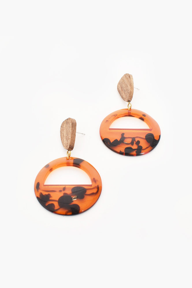 Timber & Resin Cut out Drop Earrings (Tortoise)