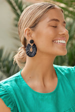 Viva Raffia Beaded Top Earrings (Black)
