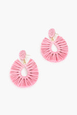 Viva Raffia Beaded Top Earrings (Dusty Pink)