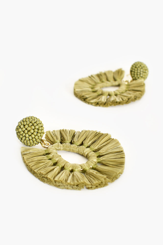 Viva Raffia Beaded Top Earrings (Khaki)