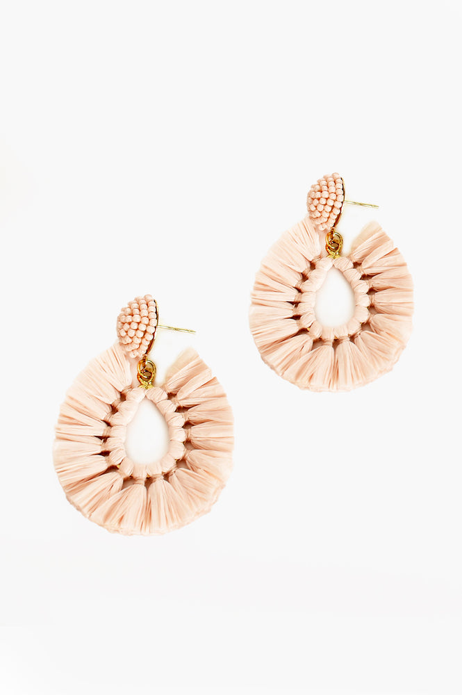 Viva Raffia Beaded Top Earrings (Pink)