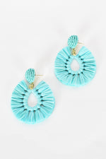 Viva Raffia Beaded Top Earrings (Mint)