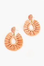 Viva Raffia Beaded Top Earrings (Peach)
