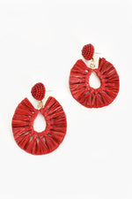 Viva Raffia Beaded Top Earrings (Red)