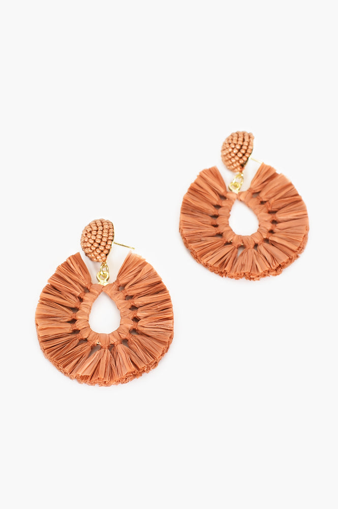 Viva Raffia Beaded Top Earrings (Tan)