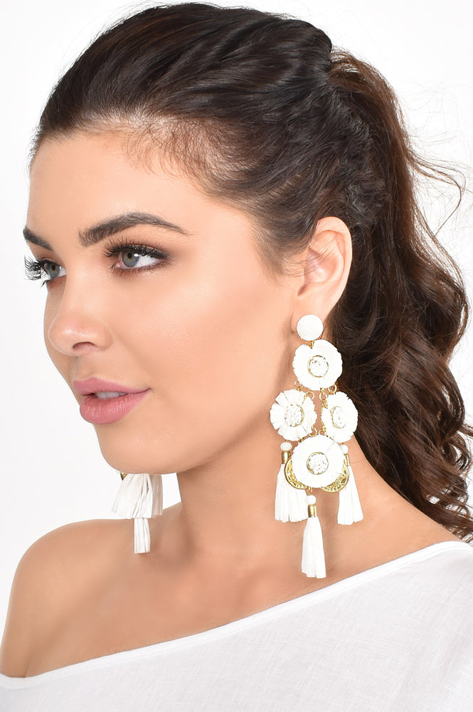 Margarita Raffia Coin Tassel Earrings (Black/Gold)