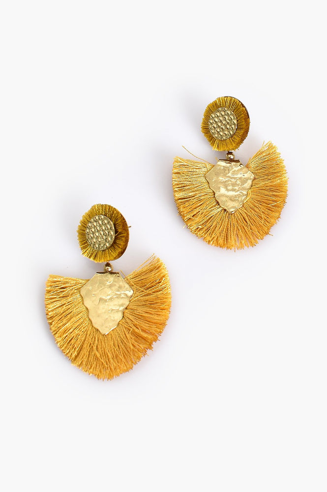 Beaten Metal Fringe Earrings (Mustard/Gold)