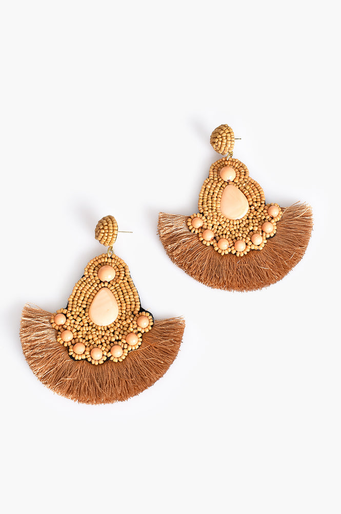 Tessa Beaded Fringe Earrings (Camel/Tan)