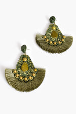 Tessa Beaded Fringe Earrings (Khaki/Green)