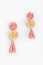 Sadie Raffia Tassel Drop Earrings (Peach/Camel)