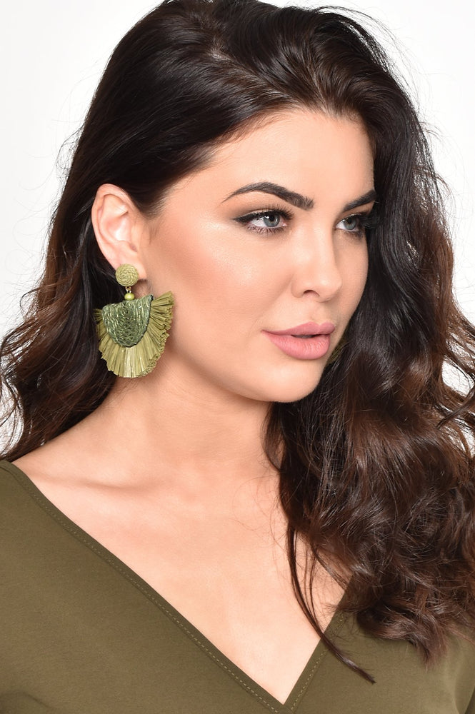Salma Cord Fringe Earrings (Khaki/Green)