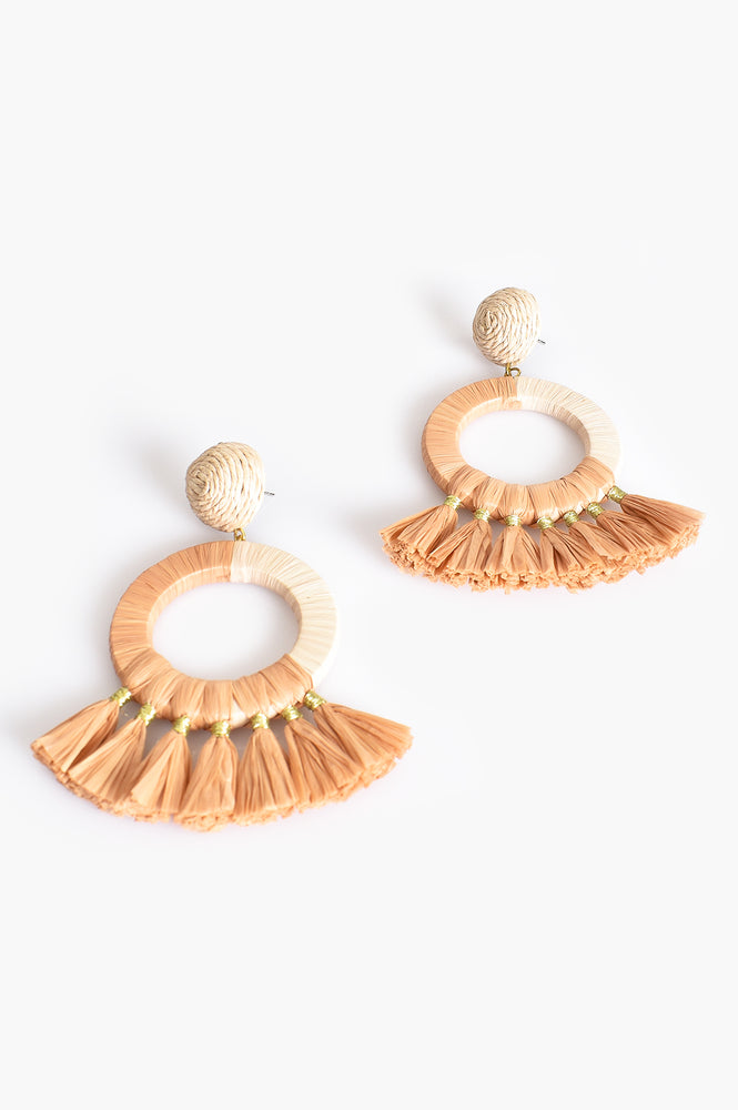Stella Fringe Ring Earrings (Natural/Tan)