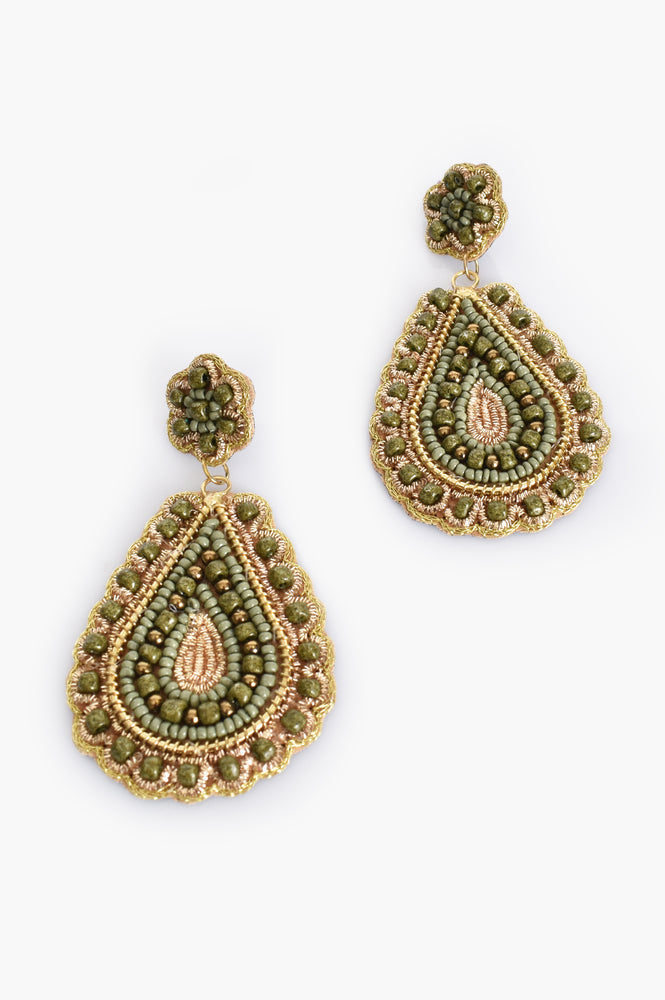 Gina Beaded Crochet Drop Earrings (Green/Gold)