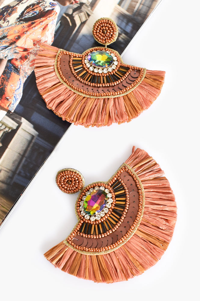 Charli Sequin Bead Fringe Earrings (Peach/Multi)