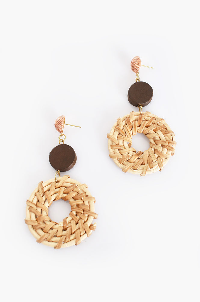 Natural Weave Mix Earrings (Peach/Camel)